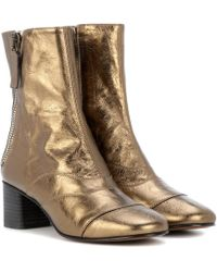 Chloé - Lexie Metallic Leather Ankle Boots - Lyst