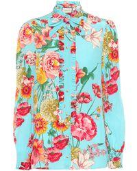 Gucci - Floral-printed Silk Shirt - Lyst