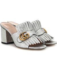bfa9391e731 Gucci - Metallic Leather Sandals - Lyst