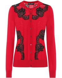 Dolce & Gabbana - Lace-trimmed Wool-blend Cardigan - Lyst