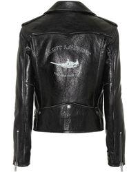 Saint Laurent - Bird Printed Leather Jacket - Lyst
