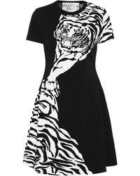 c1cb166d170 Valentino Intarsia Knit Flared Dress in Natural - Lyst