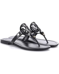 97309011434cfa Lyst - Tory Burch Miller Leather Sandals in Black - Save ...