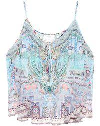 Camilla - Embellished Silk Tank Top - Lyst