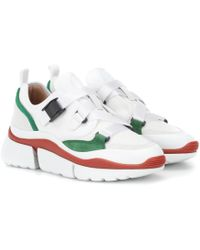 Chloé - White And Green Sonnie Leather And Suede Multi Strap Sneakers - Lyst
