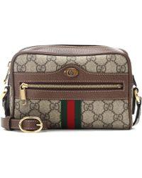 5558e54d2aa516 Gucci Beige Mini GG Print Logo Stripe Leather Trim Canvas Cross Body ...