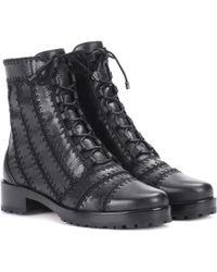 Alexandre Birman   Regina Leather Combat Boots   Lyst
