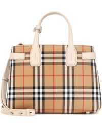 Burberry - The Small Banner Check Tote - Lyst