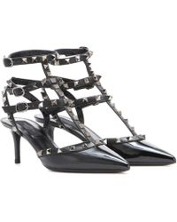 Valentino - Rockstud Kitten-Heeled Patent-Leather Pumps - Lyst