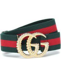 Gucci Logo Buckle Stripe Webbed Belt