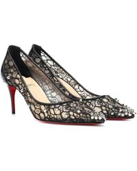 3fd4dc650ad0 Lyst - Christian Louboutin Saramor Lace and Leather Pumps in Black