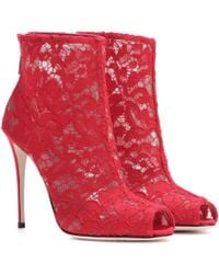 Dolce & Gabbana - Lace Open-toe Ankle Boots - Lyst