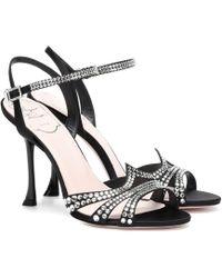 Roger Vivier - Hotfix Embellished Satin Sandals - Lyst