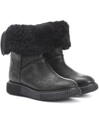 Moncler - New Christine Fur-lined Leather Ankle Boots - Lyst