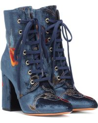 Etro - Embroidered Velvet Ankle Boots - Lyst