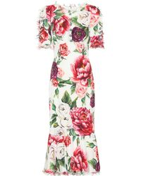 Dolce & Gabbana - Peony-print Silk-charmeuse Dress - Lyst