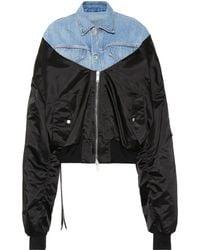 Unravel - Denim Mixed-fabric Bomber Jacket - Lyst