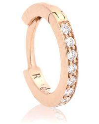 Repossi - Orecchino Mini Hoop in oro rosa 18kt con diamanti bianchi - Lyst