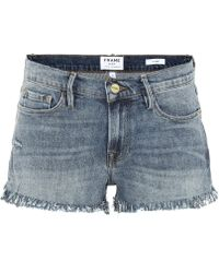 FRAME - Le Cut Off Shredded Raw Shorts - Lyst