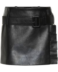 Prada - Leather Miniskirt - Lyst