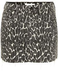 Mother - The Vagabond Leopardprint Denim Miniskirt - Lyst