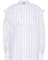MSGM - Embroidered Cotton Shirt - Lyst