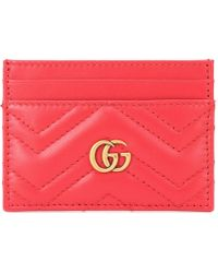 19102171b4716 Gucci - GG Marmont Leather Card Holder - Lyst