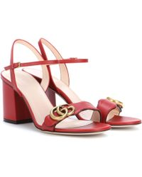 Gucci Marmont Leather Sandals - Red