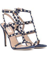 Valentino - Rockstud Suede Sandals - Lyst