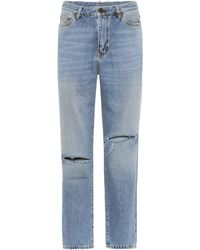 187e5c2acc7 Saint Laurent - High-waisted Cropped Jeans - Lyst