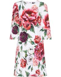 Dolce & Gabbana - Rose-printed Crêpe Dress - Lyst