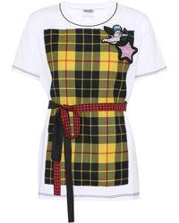 Miu Miu - Embellished Cotton T-shirt - Lyst