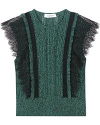 Valentino - Cotton Sweater With Lace - Lyst