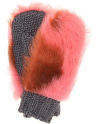Prada - Fur-trimmed Wool Mittens - Lyst