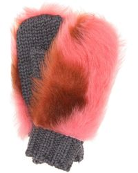 Prada - All Designer Products - Fur-trimmed Wool Mittens - Lyst
