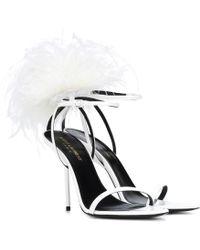 71d1b3c2eada Lyst - Saint Laurent Mansour Feather-embellished Sandals in Black