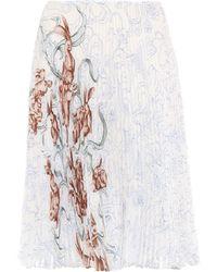 Prada - Pleated Printed Silk Skirt - Lyst