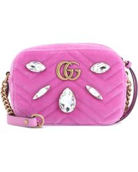 23519dd29ec3 Gucci Gg Marmont Small Velvet Shoulder Bag in Pink - Lyst