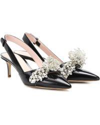 Christopher Kane - Embellished Leather Slingback Court Shoes - Lyst