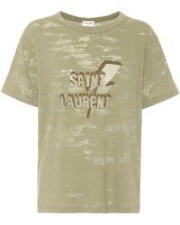 Saint Laurent - Printed Dévoré Jersey T-shirt - Lyst