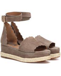 8c6453a4a4cb Lyst - Chloé Lauren Suede Platform Sandals in Gray