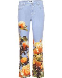 MSGM Mid-rise Printed Jeans - Blue