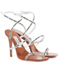 7d2b5b515e24 Jimmy Choo 85mm India Patent Leather Sandals in White - Lyst