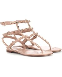 Valentino - Garavani Rockstud Leather Flat Sandals - Lyst