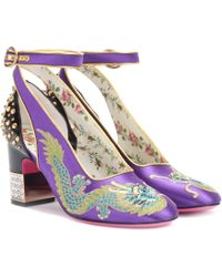 Gucci - Embroidered Satin And Leather Pumps - Lyst