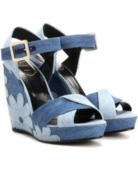 Roger Vivier - Denim Patchwork Wedge Sandals - Lyst