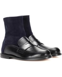 Loewe - Leather And Suede Sock Boots - Lyst