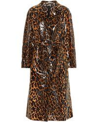 7f74dc5cd28 Lyst - Miu Miu Printed Wool-crepe Coat in Natural