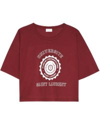 Saint Laurent - Printed Cropped Cotton T-shirt - Lyst