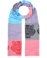 KENZO - Icon Cotton And Silk Scarf - Lyst
